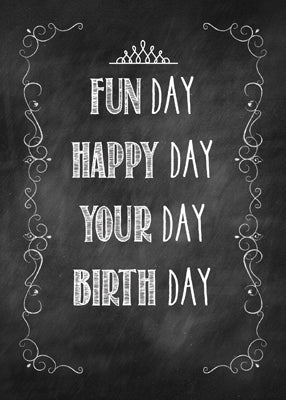 52176A Granddaughter Chalkboard Birthday, Crown Embellishment