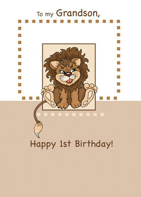 2661F Grandson 1st Birthday Lion