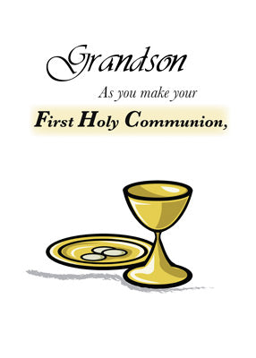4136D Grandson First Communion Gold Chalice & Paten