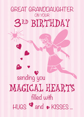 52369EA Great Granddaughter 3rd Birthday Magical Fairy Pink Hearts