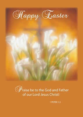 4416AA Happy Easter Lilies with Cross Religious