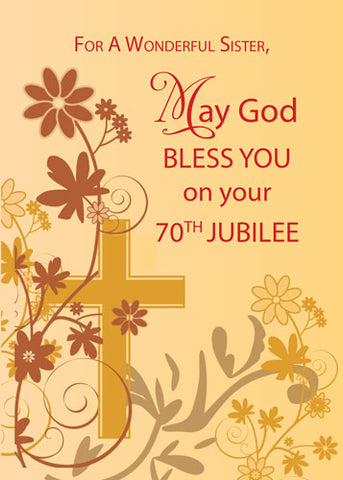 52481B  70th Jubilee Anniversary Nun Cross, Swirls, Flowers & Leaves