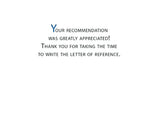 3963CC Letter of Recommendation Thank You Blue Script