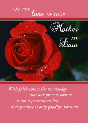 4369A Loss of Mother-in-Law, Sympathy Red Rose, Religious