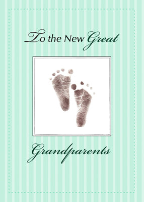 51761AA New Great Grandparents of Baby, Neutral Green Footprint
