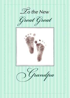 51761B New Great Great Grandpa of Baby, Neutral Green Footprint