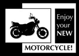 3920A New Motorcycle Congratulations, Black and White