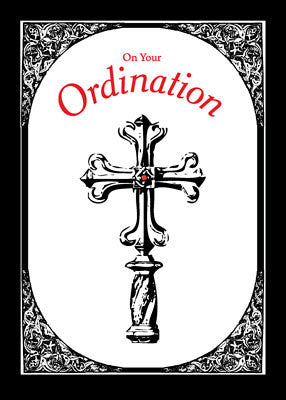 51654 Ordination Congratulations Cross on Black