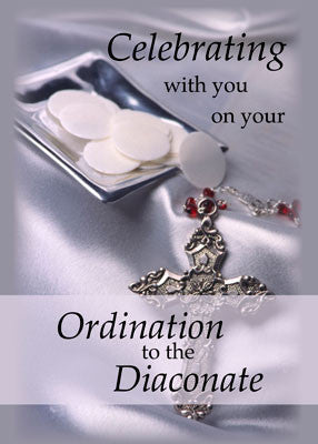 51756EA Ordination Congratulations Diaconate, Deacon Hosts and Cross