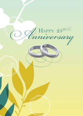 52087 25th Wedding Anniversary Religious Rings on Green