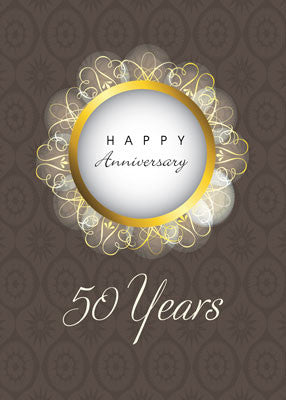 52086 50th Wedding Anniversary, Brown & Gold, Religious