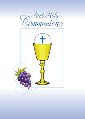 52079 Boy First Communion Card Chalice, Host