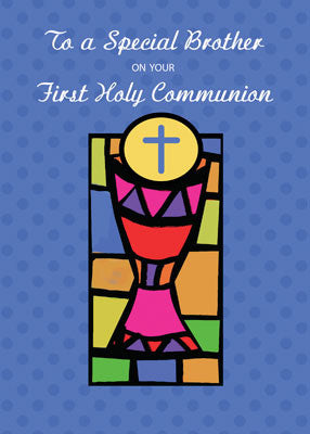 52033 Brother, First Communion Congratulations, Cup and Host, Bright Colors