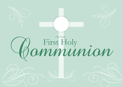 52034 First Communion Script on Green