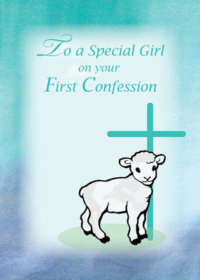52029a Girl First Confession, Lamb, Cross