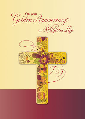 52113 Golden Anniversary of Religious Life for Nun Cross in Flowers