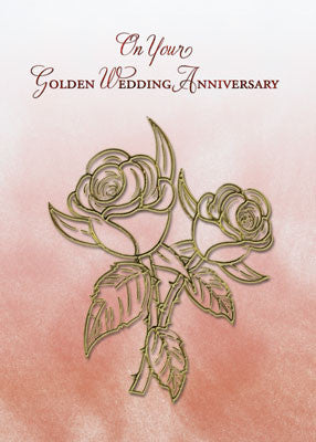 52084 Golden Religious 50th Wedding Anniversary, Roses