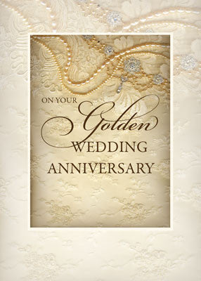 52019 Golden Wedding Anniversary, Religious, Pearls and Lace