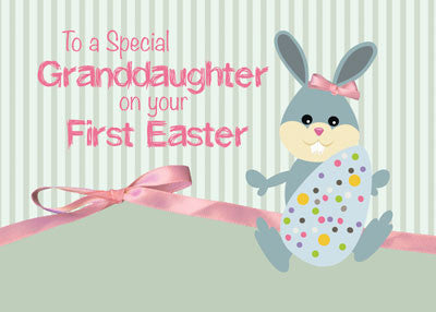52026a Granddaughter First Easter, Bunny Ribbon on Stripes