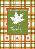 51989A Grandparents Thanksgiving Fall Leaves on Plaid