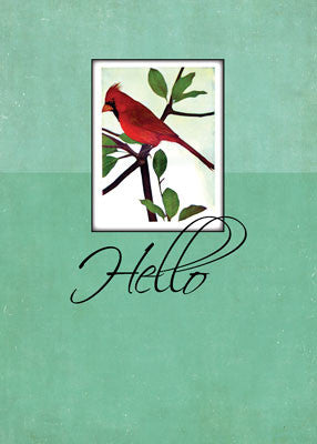 51988 Hello, Red Cardinal on Green Branch