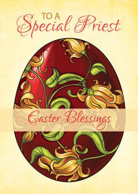 52018A  Priest Easter Blessings, Egg with Lilies