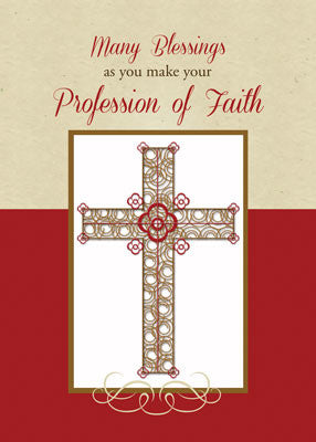 52061 RCIA Blessings on Profession of Faith, Cross on Red