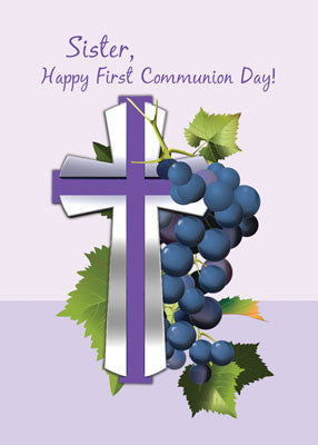 52038 Sister First Communion Purple and Silver Cross with Grapes