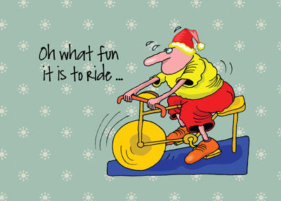 52010 Spinning Bike Exercising Humorous Christmas Card