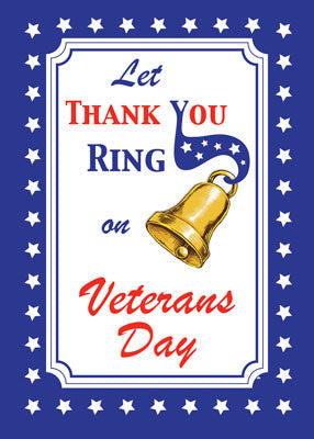 52114 Thank You Veteran's Day Bell, Red, White, Blue, Stars