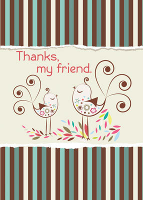 52077F Thank You, Friend, Whimsical Birds on Brown and Teal Stripes