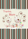 52077E Thanks Mom, Cute Birds on Stripes