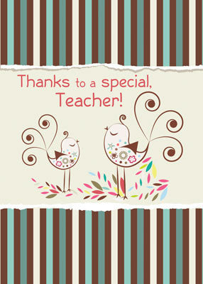 52077G Thanks Teacher, Whimsical Bird on Stripes