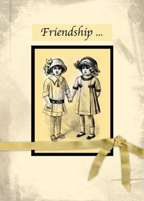 51970 Friendship Vintage Girls in Hats Holding Hands