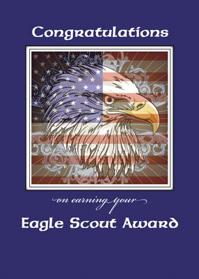 51981 Eagle Scout Congratulations Eagle Over American Flag