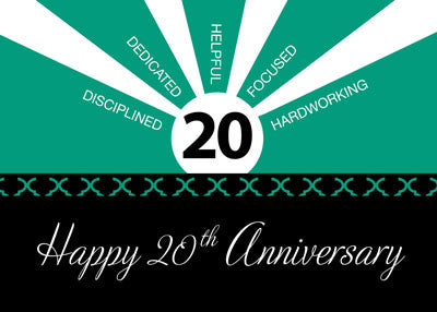 52272D 20th Year Business Employee Anniversary, Green, Black