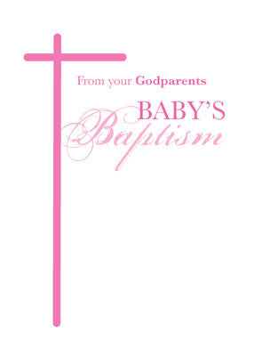 51979B From Godparents on Baptism, Goddaughter Girl Pink Cross