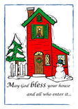 52147 God Bless House Christmas