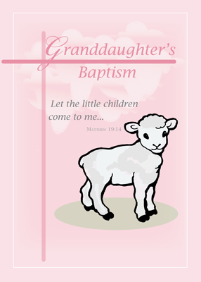 3874 Granddaughter Baptism Pink Lamb