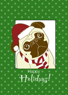 3775B Pug Dog Christmas Humorous, Funny