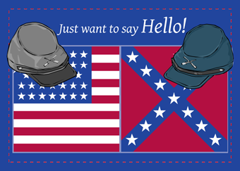 2677 Civil War Hats on Flags Hello Thinking of You