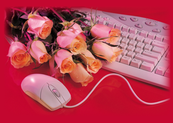 2761 Computer & Red Roses on Boss's Day