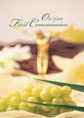 3814 First Communion, Crucifix, Grapes