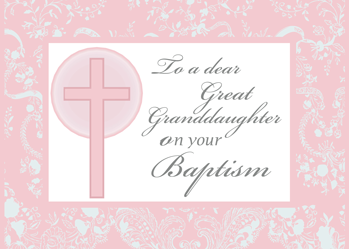 3878 Great Granddaughter Baptism, Pink, Lace