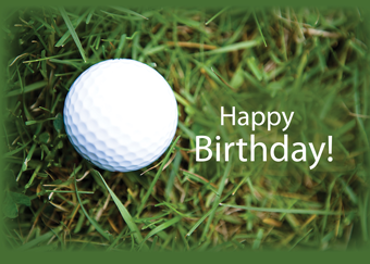 2728 Golf Ball in Grass Birthday