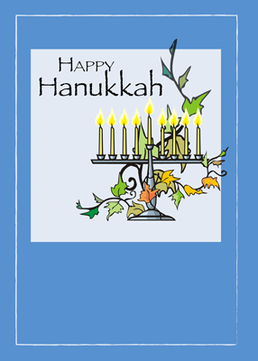 3335 Hanukkah Menorah with Leaves