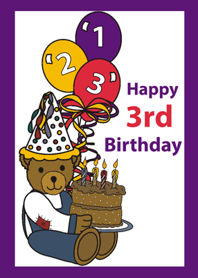 3752 Happy 3rd Birthday Bear