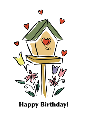 2734 Heart Birdhouse Birthday