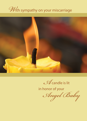 2642 Angel Baby Sympathy with Candle, Yellow