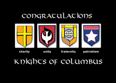 51787 Knights of Columbus Congratulations Induction, Faith in Action, Black